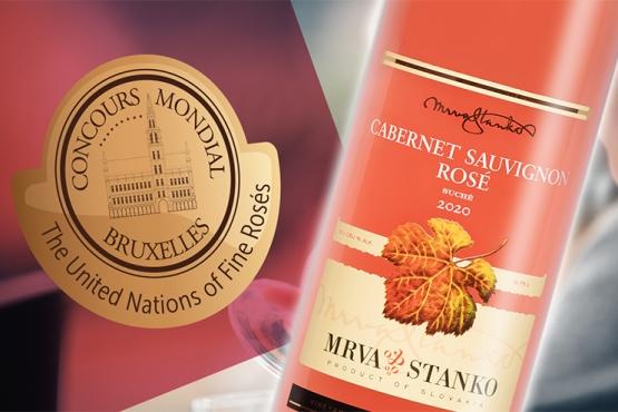 Ružový Cabernet Sauvignon zlatý na medzinárodnej výstave vín Rosé Selection 2021